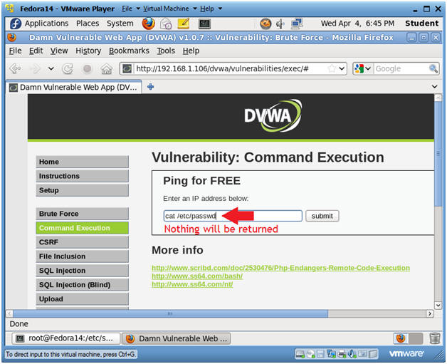 Damn Vulnerable Web App (DVWA): Lesson 2: Command Execution Basic