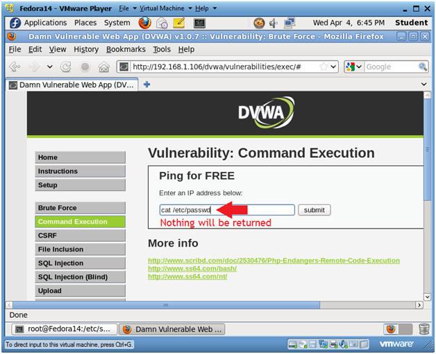 Damn Vulnerable Web App (DVWA): Lesson 2: Command Execution Basic