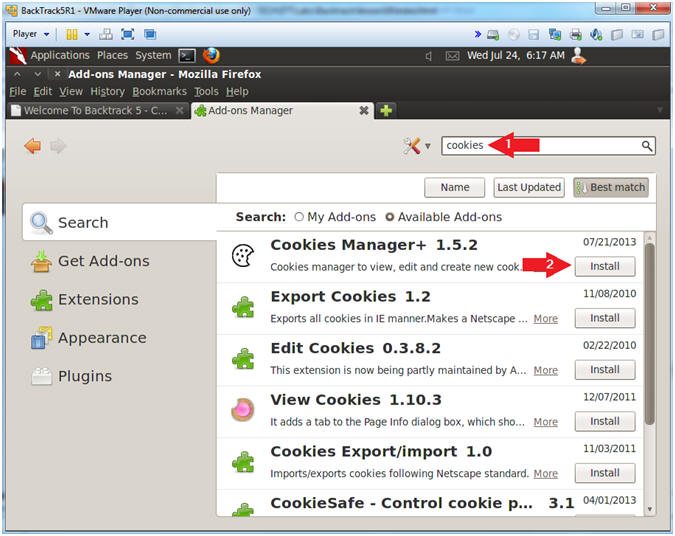 BackTrack: Lesson 10: How To Install Cookies Manager+ 1 5 2