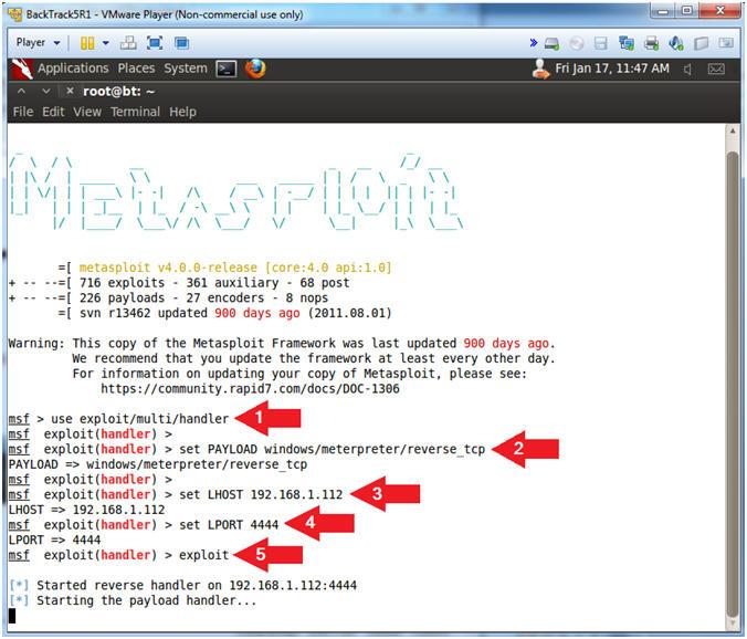 Metasploit: msfpayload backdoor: BackTrack5R1: Create Executable