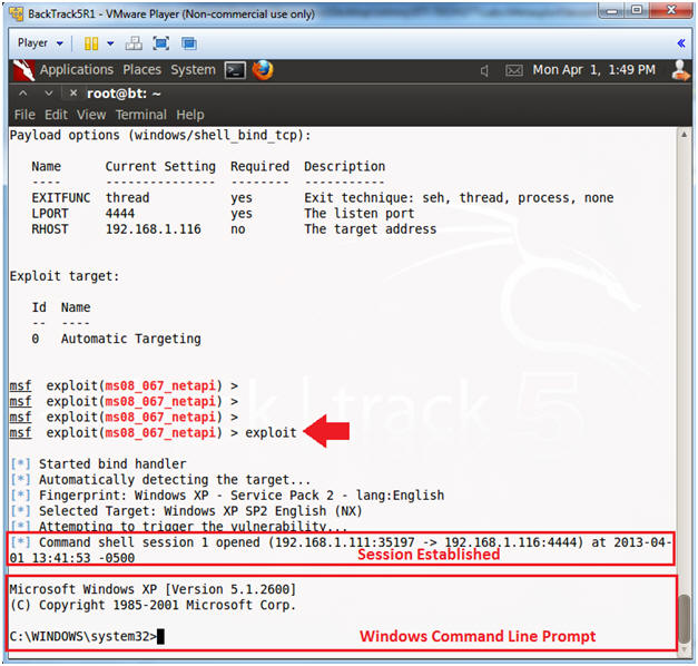 Metasploit: MS08-067: BackTrack5R1: Establishing A Shell To The