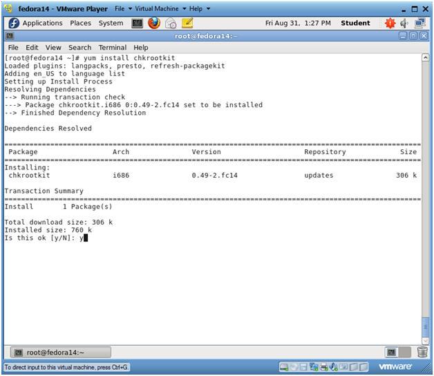Fedora: Lesson 20: Installing chkrootkit