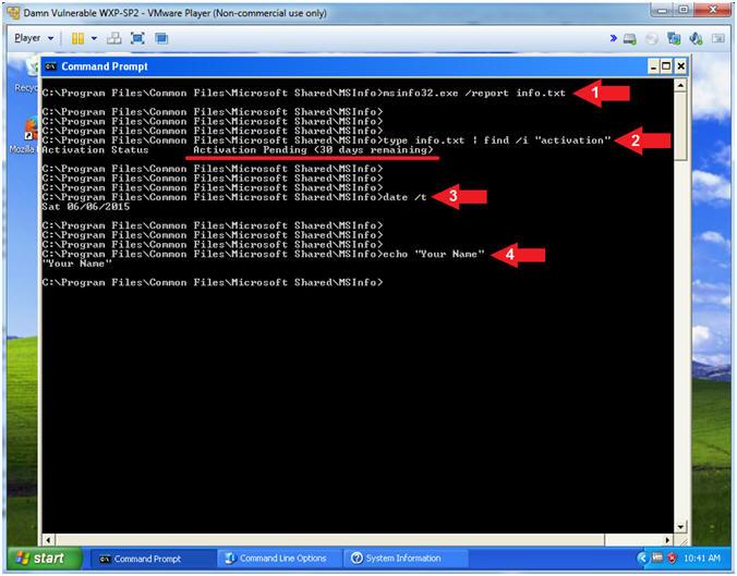 activate windows xp command line