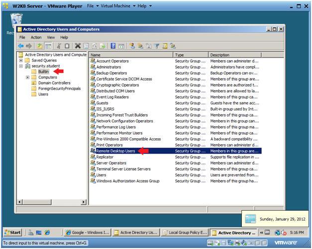 Windows 2008 Server: Lesson 10: Configuring Remote Desktop Users